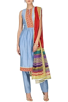 Powder Blue Embellished and Hand Printed Kurta Set by Surendri by Yogesh Chaudhary