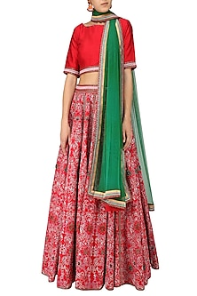 Red Embroidered Flared Lehenga Set by Surendri by Yogesh Chaudhary