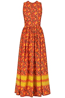 Red Hand Printed Floral Maxi Dress by Surendri by Yogesh Chaudhary