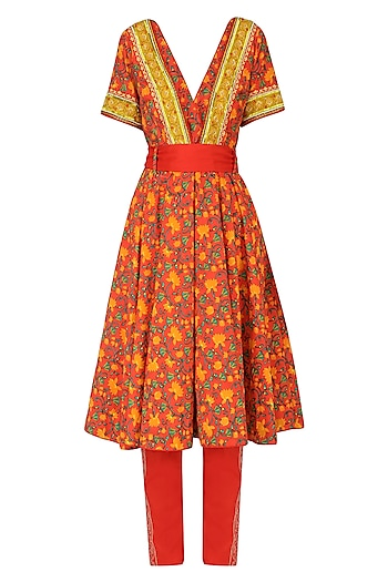 Red Embroidered Anarkali Set by Surendri by Yogesh Chaudhary