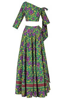 Green One Shoulder Floral Crop Top and Flared Skirt by Surendri by Yogesh Chaudhary