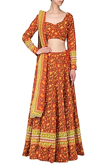 Red Flared Hand Printed Lehenga Set by Surendri by Yogesh Chaudhary