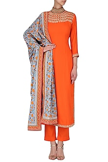 Orange Straight Floral Embroidered Kurta by Surendri by Yogesh Chaudhary
