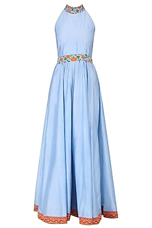 POWDER BLUE EMBROIDERED ANARKALI GOWN by Surendri by Yogesh Chaudhary