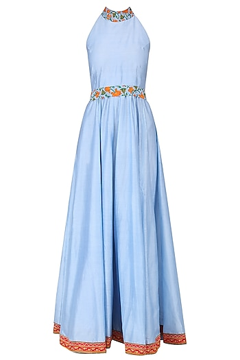 Powder Blue Embroidered Anarkali Set by Surendri by Yogesh Chaudhary