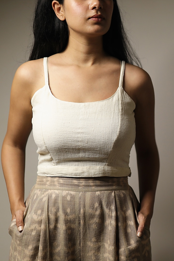 Ivory Cotton Crop Top by Yesha Sant