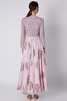 Pink Hand Embroidered Anarkali With Dupatta by Yuvrani Jaipur