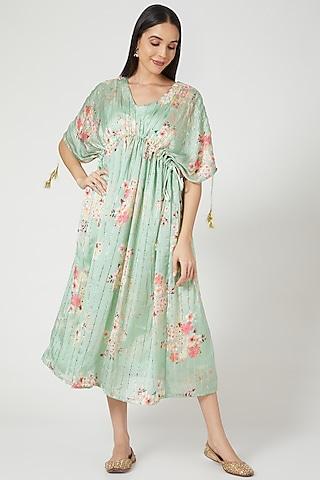 Sea Green Kimono Kaftan by Yuvrani Jaipur