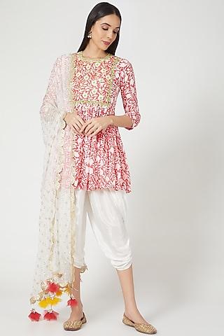 Pink Hand Block Printed Kurta Set by Yuvrani Jaipur