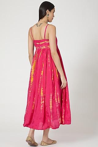 Hot Pink & Mustard Shibori Anarkali Set by Yuvrani Jaipur