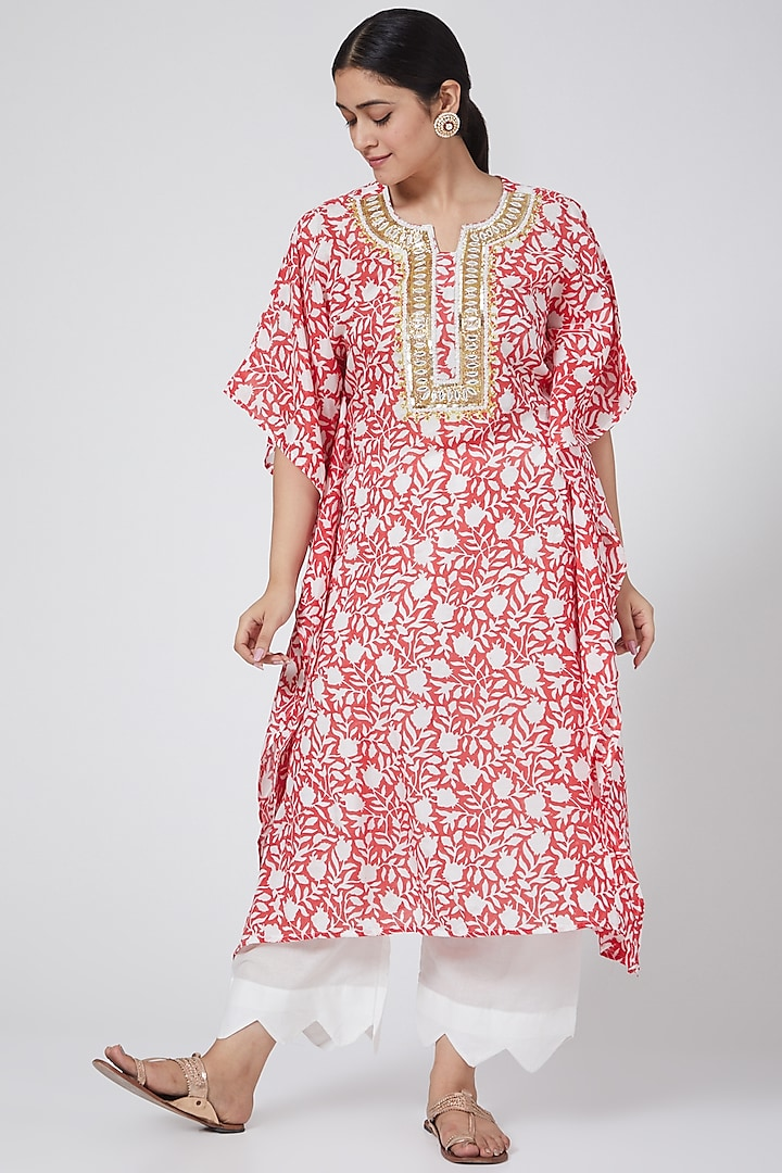 Red Hand Block Printed Pant Set by Yuvrani Jaipur