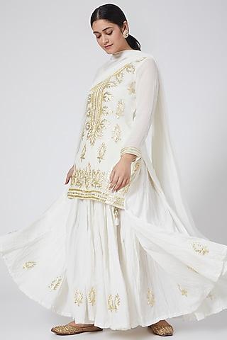 Ivory Machine Embroidered Skirt Set by Yuvrani Jaipur
