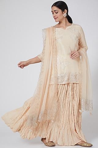 Peach Skirt Set With Swarovski Work by Yuvrani Jaipur