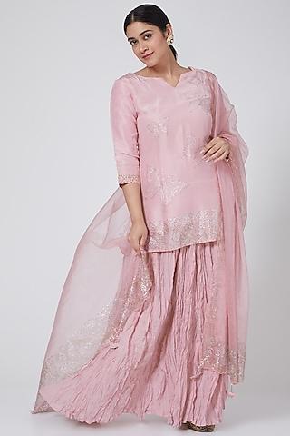 Blush Pink Skirt Set With Swarovski Work by Yuvrani Jaipur