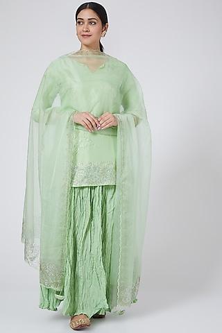Mint Skirt Set With Swarovski Work by Yuvrani Jaipur