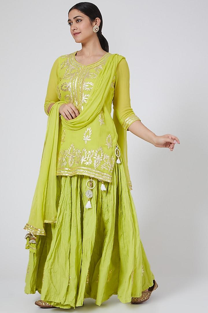 Lime Embroidered Skirt Set by Yuvrani Jaipur