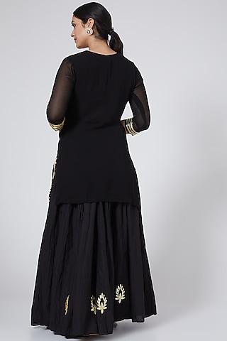 Black Embroidered Skirt Set by Yuvrani Jaipur