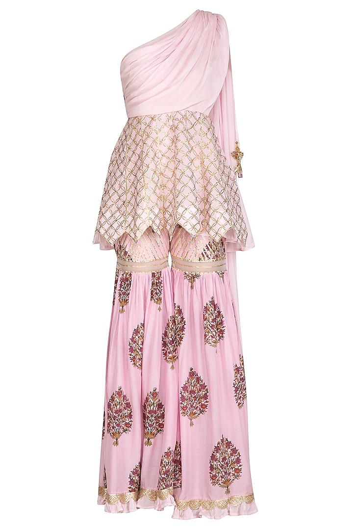 Pink Block Printed & Embroidered Peplum Top With Sharara Pants by Yuvrani Jaipur