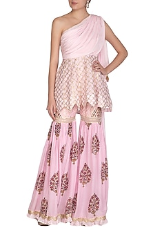 Pink Block Printed & Embroidered Peplum Top With Sharara Pants by Yuvrani Jaipur