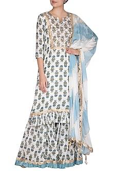 Blue Block Printed & Leheriya Sharara Set by Yuvrani Jaipur-SHOP BY STYLE