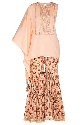 Peach Swarovski Kaftan Top With Printed Sharara Pants by Yuvrani Jaipur