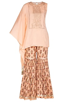 Peach Swarovski Kaftan Top With Printed Sharara Pants by Yuvrani Jaipur