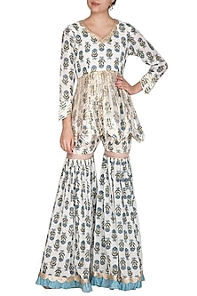 Ivory & Blue Block Printed Peplum Sharara Set by Yuvrani Jaipur