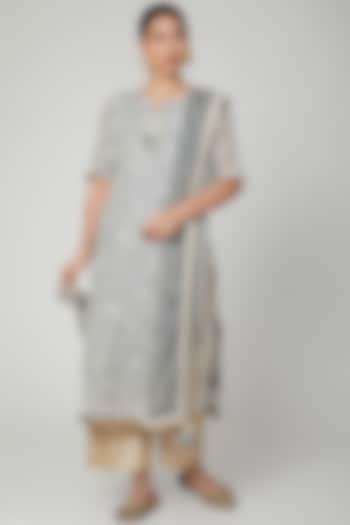 Grey & Ivory Embroidered Kurta Set by Yuvrani Jaipur