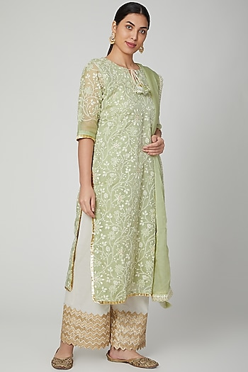 Sea Green & Ivory Embroidered Kurta Set by Yuvrani Jaipur