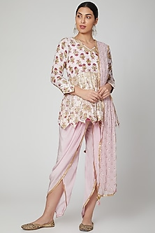Blush Pink Block Printed Dhoti Set by Yuvrani Jaipur
