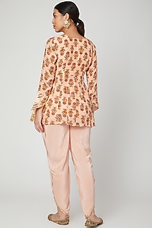 Peach Block Printed Dhoti Set by Yuvrani Jaipur