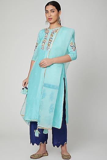 Sky Blue Embroidered Kurta Set by Yuvrani Jaipur