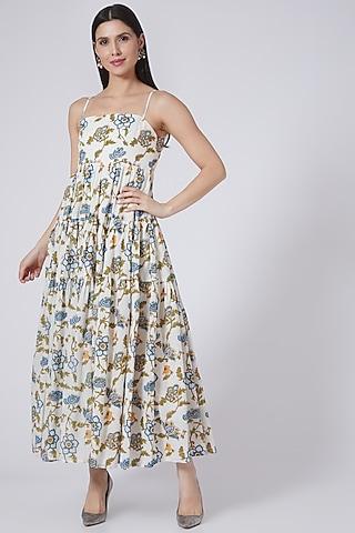 White & Blue Hand Block Printed Maxi Dress by Yuvrani Jaipur