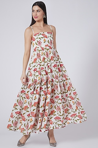 White & Blush Pink Printed Maxi Dress by Yuvrani Jaipur