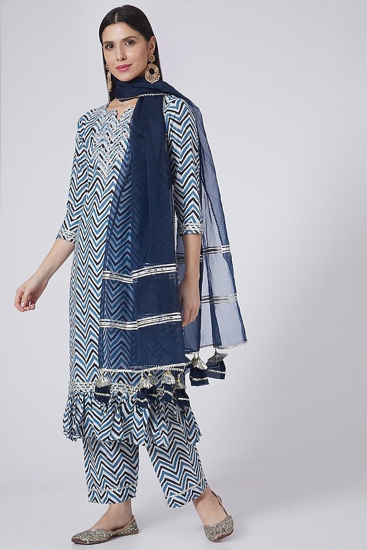 Blue Embroidered Kurta Set by Yuvrani Jaipur