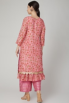Pink Block Printed Kurta Set by Yuvrani Jaipur