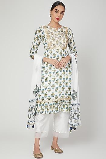 Ivory & Blue Hand Block Printed Kurta Set by Yuvrani Jaipur
