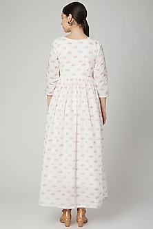 White Lotus Block Printed Anarkali by Yuvrani Jaipur
