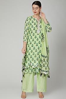 Green Block Printed Kurta Set by Yuvrani Jaipur-POPULAR PRODUCTS AT STORE