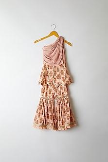 Peach Embroidered & Printed Sharara Set by Yuvrani Jaipur Kidswear