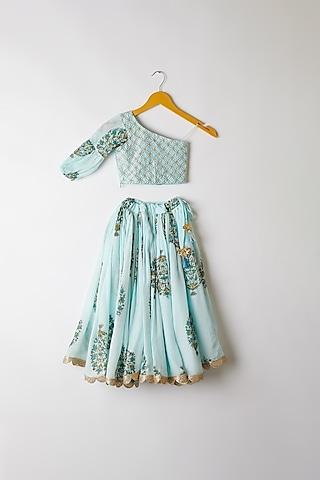 Sky Blue Printed Lehenga Set by Yuvrani Jaipur Kidswear