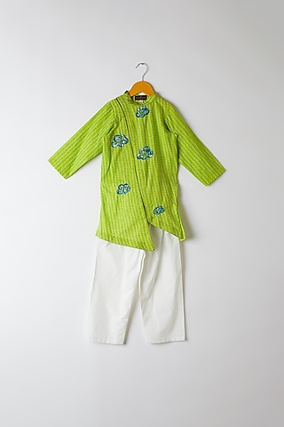 Grass Green Embroidered Kurta by Yuvrani Jaipur Kidswear