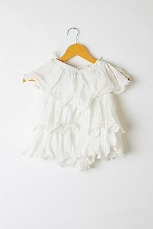 White Ruffled & Layered Top by Yuvrani Jaipur Kidswear