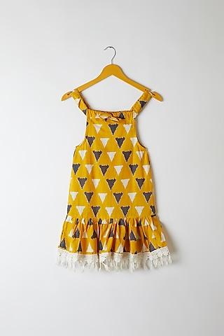 Yellow Triangle Printed Frock by Yuvrani Jaipur Kidswear