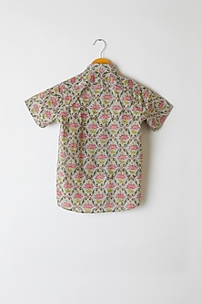 Grey Lotus Printed Shirt by Yuvrani Jaipur Kidswear