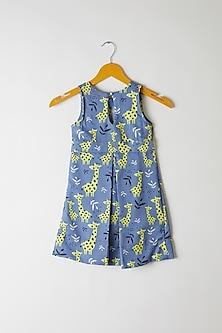 Blue Giraffe Printed Frock by Yuvrani Jaipur Kidswear
