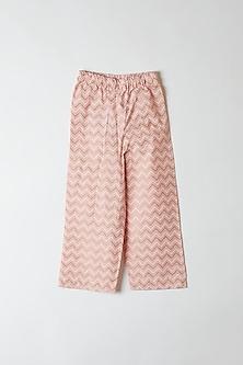 Pink Chevron Printed Pants by Yuvrani Jaipur Kidswear