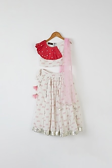 White Lotus Printed Lehenga Set by Yuvrani Jaipur Kidswear