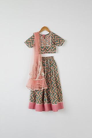 Multicolored Printed Lehenga Set by Yuvrani Jaipur Kidswear