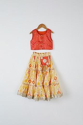 Yellow & Orange Printed Skirt Set by Yuvrani Jaipur Kidswear